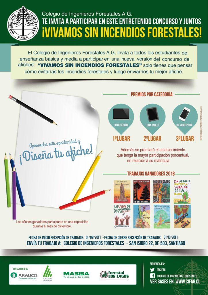 """Versión 2017 Concurso Escolar de Afiches """"Vivamos sin Incendios Forestales"""""""