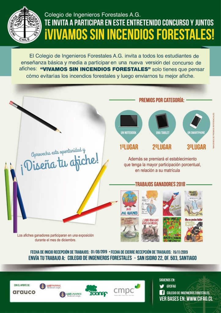 """Versión 2019 Concurso Escolar de Afiches """"Vivamos sin Incendios Forestales"""""""